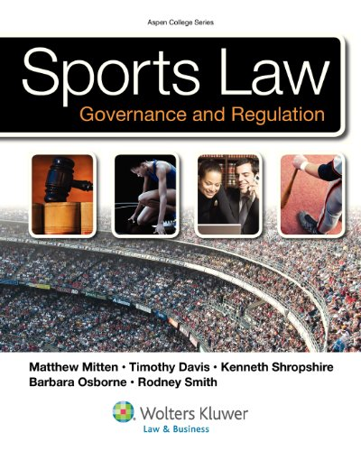Sports Law 9780735508644 Career choices in sports law are divided into two broad categories: professional (sports business management) and amateur (sports coaching and administration). Sports Law and Regulation, adapted from the authors' top law school text, addresses both roles: professional issues of contracts, torts, agency, labor/employment law, health and safety, and intellectual property rights for marketing as well as amateur issues such as sports regulation in high school, college and Olympic levels, and gender/racial equality (Title VII). The authoritative legal author team has carefully edited and adapted their successful casebook to fit the needs of undergraduate students. Their wealth of sports law experience provides interesting and insightful cases, examples and problems to help students with legal issues they will face in their careers. Terms and legal vocabulary are called out in body of the text and immediately defined for better comprehension. End of chapter questions and assignments enhance student understanding, and helpful Websites are referenced for further research and discussion. Features: Addresses both broad categories of careers in sports law o professional (sports business management) o contracts o torts o agency o labor/employment law o health and safety o intellectual property rights for marketing o amateur (sports coaching and administration) o sports regulation in high school, college and Olympic levels o gender and racial equality, Title VII Adapted from authors' successful law school casebook o authoritative legal team from top law schools o carefully edited to fit needs of undergraduates Interesting, insightful cases and examples from authors' wealth of sports law experience Examples, case illustrations, and problems identify legal issues students will face in practice Terms and legal vocabulary o called out in body of the text o defined immediately for student comprehension End of chapter questions and assignments to enhance understanding...
