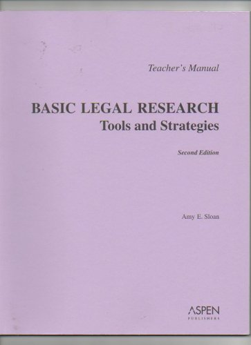9780735527805: Basic Legal Research Tools and Strategies