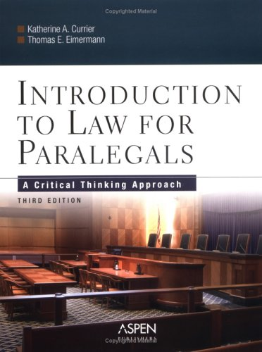 9780735539891: Introduction to Law for Paralegals: A Critical Thinking Approach