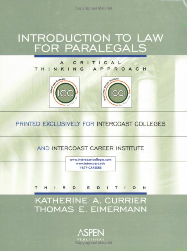 9780735559387: Intro To Law for Paralegals: A Critical Thinking Approach, Third Edition