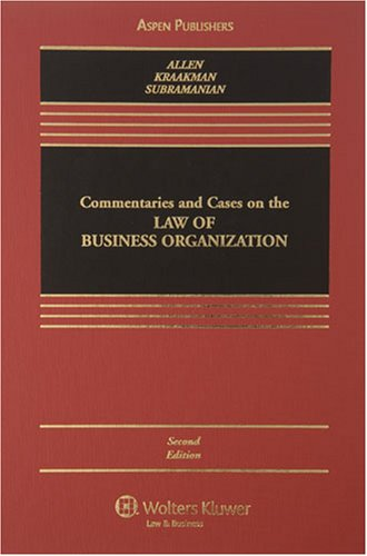 9780735563131: Commentaries and Cases on the Law of Business Organization, 2nd Edition (Casebook)