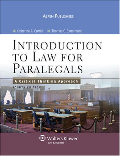 9780735567191: Intro To Law for Paralegals: A Critical Thinking Approach
