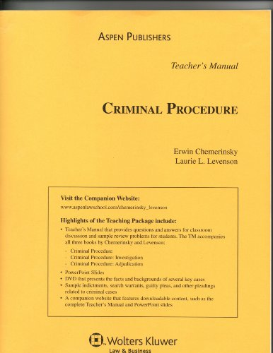 9780735569652: Teacher's Manual to Criminal Procedure