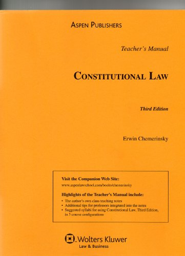9780735577183: Teacher's Manual to Constitutional Law