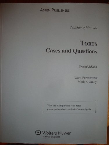 9780735582958: Torts: Cases and Questions: TEACHER'S MANUAL