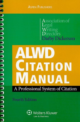9780735589308: ALWD Citation Manual: A Professional System of Citation, Fourth Edition