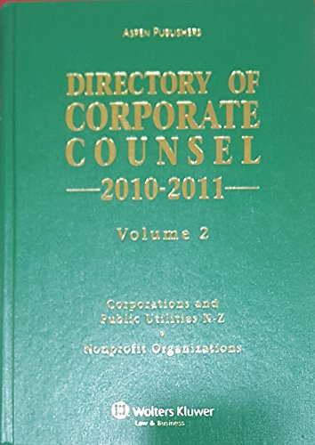 9780735592674: Directory of Corporate Counsel 2010-2011 Hardcover (Volume 2 Only)