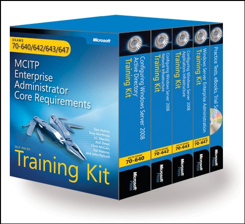 9780735625723: MCITP Self-Paced Training Kit (Exams 70-640, 70-642, 70-643, 70-647): Windows Server® 2008 Enterprise Administrator Core Requirements (PRO-Certification)