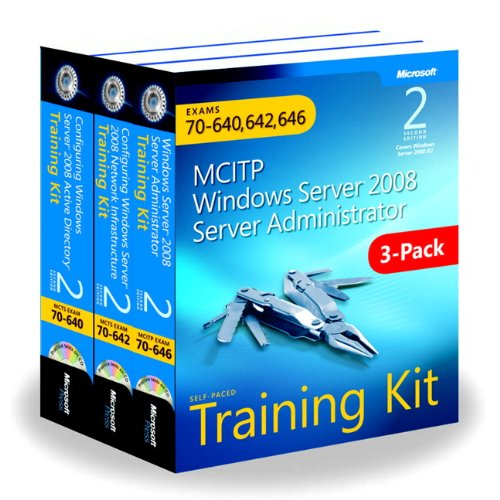 9780735663282: MCITP Windows Server 2008 Server Administrator: Training Kit 3-Pack: Exams 70-640, 70-642, 70-646, 2nd Edition Book/CD Package