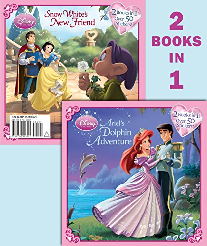 9780736426541: Ariel's Dolphin Adventure/Snow White's New Friend [With Sticker(s)] (Disney Princess)