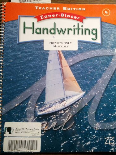 Handwriting, Zaner-Bloser Teacher Edition, 4