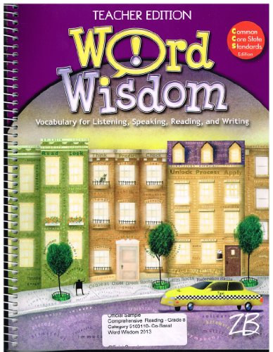 9780736792868: Word Wisdom Vocabulary for Listening,Speaking,Reading, and Writing (Teacher Edition, Grade 8 w/cd-rom)