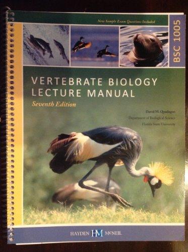 Vertebrate Biology Lecture Manual BSC 1005 (Department: David Quadagno PhD