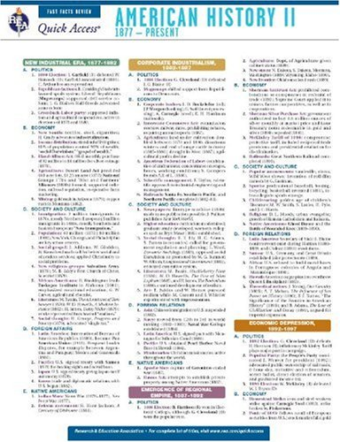 9780738607214: American History 2 - REA's Quick Access Reference Chart (Quick Access Reference Charts)