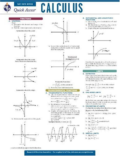 9780738607238: Calculus - REA's Quick Access Reference Chart (Quick Access Reference Charts)