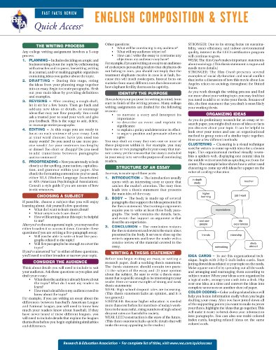 9780738607269: English Composition and Style - REA's Quick Access Reference Chart (Quick Access Reference Charts)