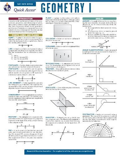 9780738607313: Geometry 1 - REA's Quick Access Reference Chart (Quick Access Reference Charts)