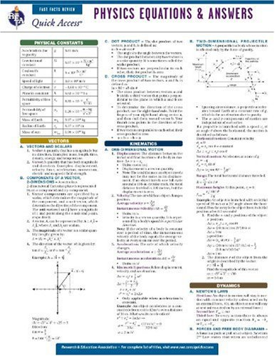 Physics Equations and Answers - REA's Quick Access Reference Chart (Quick Access Reference Charts) (0738607444) by Editors of REA; Physics Study Guides