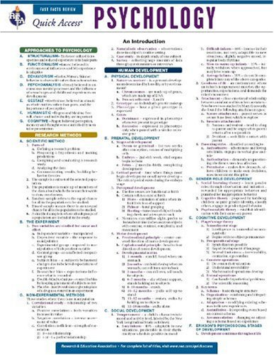 Psychology - REA's Quick Access Reference Chart (Quick Access Reference Charts) (0738607460) by Editors of REA; Psychology Study Guides