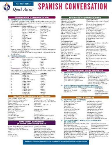 Spanish Conversation - REA's Quick Access Reference Chart (Quick Access Reference Charts) (English and Spanish Edition) (0738607487) by Editors of REA; Spanish Study Guides