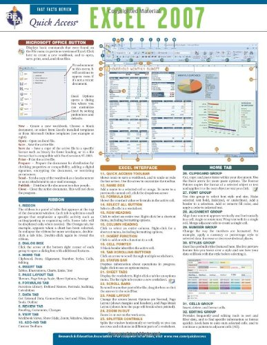 9780738607573: Excel 2007 - REA's Quick Access Reference Chart (Quick Access Reference Charts)