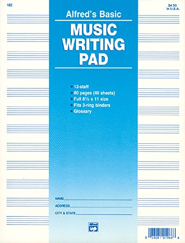 9780739014615: 12 Staff Music Writing Pad (Loose Pages (3-hole punched for ring binders))