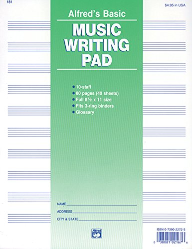 9780739022726: 10 Stave Music Writing Pad: Loose Pages (3-hole punched for ring binders)