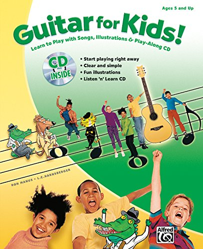 guitar for kids learn to play with songs illustrations play along cd book cd by manus. Black Bedroom Furniture Sets. Home Design Ideas