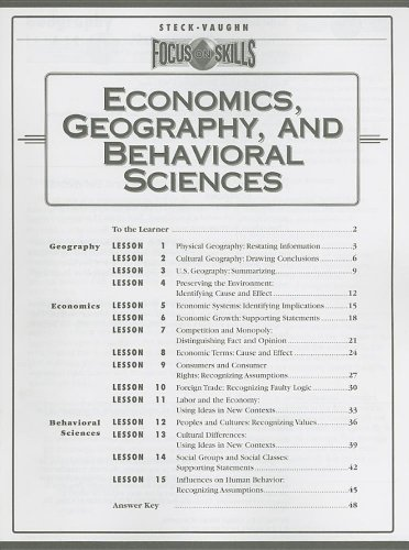 Economics, Geography, and Behavioral Sciences (Focus on Skills) (9780739829158) by Steck-vaughn Company