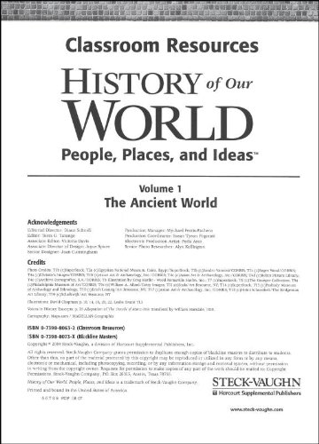 9780739880630: History of Our World: Classroom Resource Binder The Ancient World