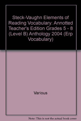 9780739884515: Elements of Reading: Annotted Teacher's Edition Grades 5 - 8 (Level B) 2004