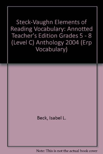 9780739884522: Elements of Reading: Annotted Teacher's Edition Grades 5 - 8 (Level C) 2004