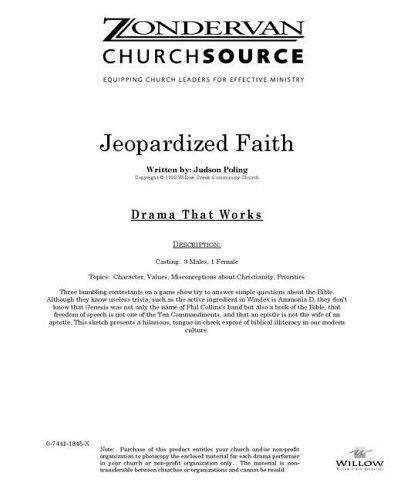 9780744118452: Jeopardized Faith (Willow Creek Drama Scripts)