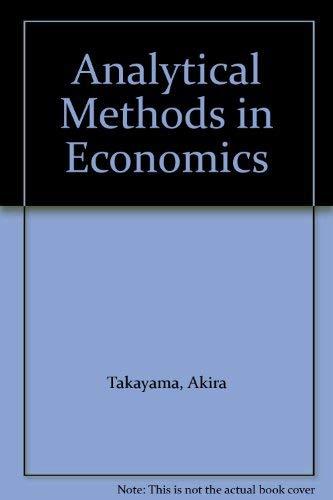 9780745010366: Analytical Methods in Economics