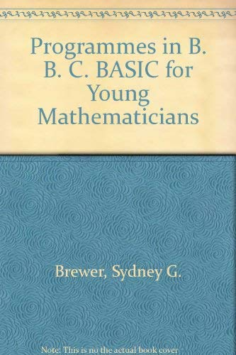9780748602544: Programmes in B. B. C. BASIC for Young Mathematicians