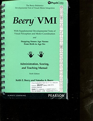 9780749160258: Beery VMI Administration, Scoring, and Teaching Manual 6e PsychCorp
