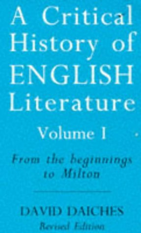 9780749318932: A Critical History of English Literature: From the Beginnings to Milton v. 1