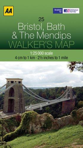 Walker's Map Bristol, Bath & The Mendips: AA Publishing