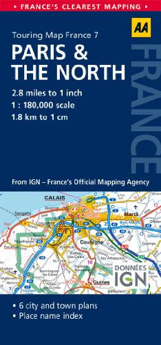 9780749575519: AA Road Map Paris & the North (AA Touring Map France 071) (Road Map France)