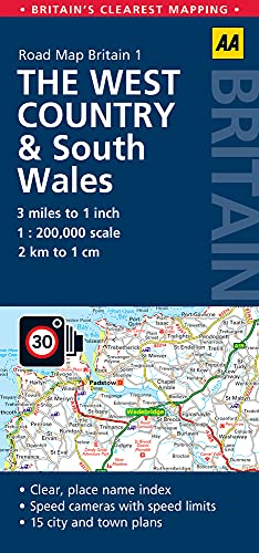 West Country & Wales Road Map (AA Road Map Britain): AA Publishing