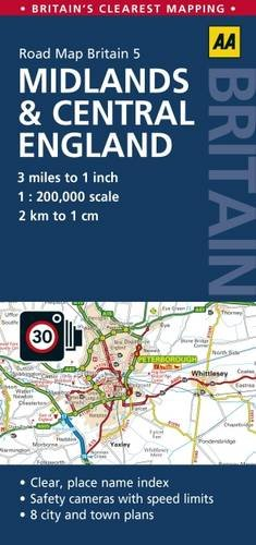 9780749577148: GB5: Midlands & Central England Road Map 1:200K (AA Road Map Britain)