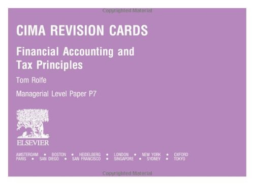 CIMA Revision Cards: Financial Accounting and Tax Principles: Rolfe, Tom