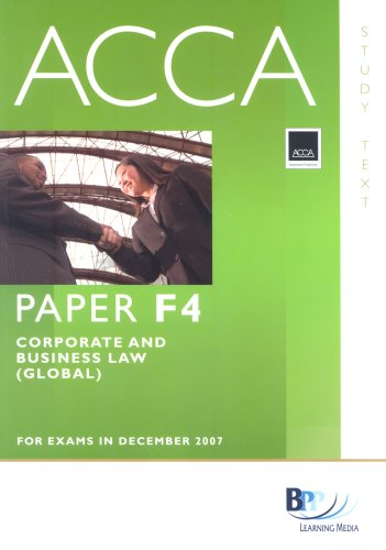 9780751732979: ACCA (New Syllabus) - F4 Corporate and Business Law (GLO): Study Text