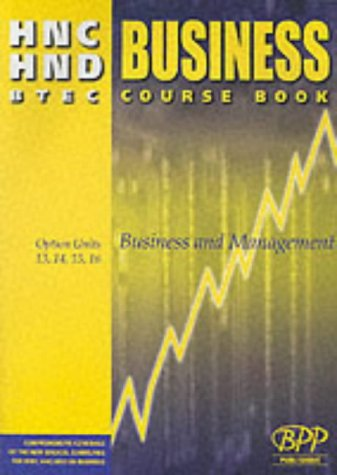 9780751770414: HNC/HND BTEC Option Units 9, 10, 11, 12 Business and Management: Business Course Book (Hnd/C Optional Pathway)