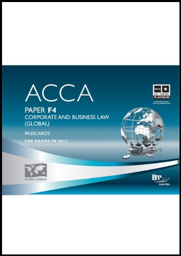 9780751788921: ACCA - F4 Corporate and Business Law (GLO): Paper F4: Passcards