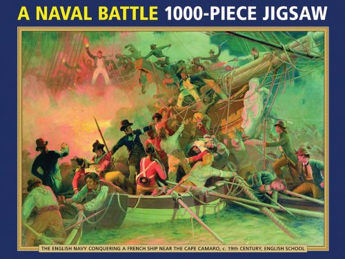 9780754828426: A Naval Battle 1000-Piece Jigsaw Puzzle: The English Navy Conquering a French Ship Near the Cape Camaro, c. 19th-Century, English School