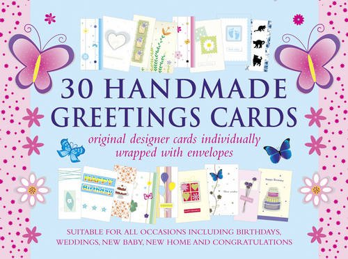 9780754831709: 30 Handmade Greetings Cards (Blue/Pink Box): Original Designer Cards Individually Wrapped With Envelopes