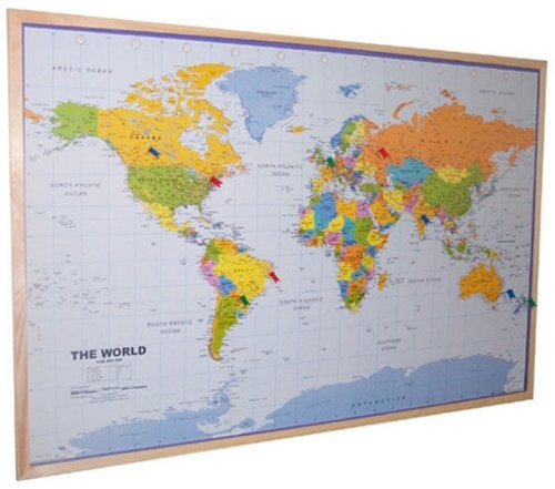 9780755809882: World Pinboard Map Wood Framed (plus flag pins)
