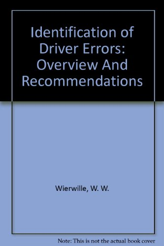 9780756744885: Identification of Driver Errors: Overview And Recommendations