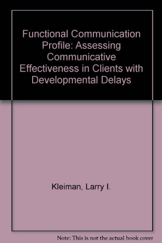 9780760604922: Functional Communication Profile: Assessing Communicative Effectiveness in Clients with Developmental Delays